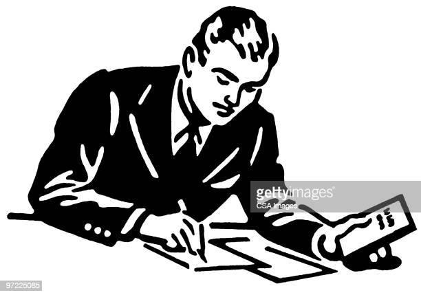 man writing - writing stock illustrations