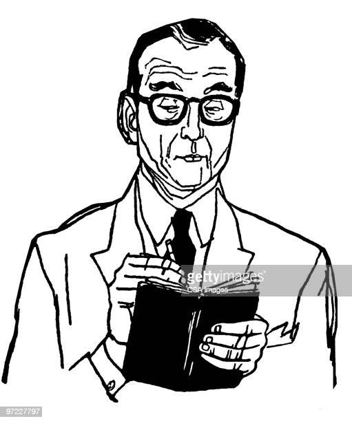 man writing in book - report stock illustrations