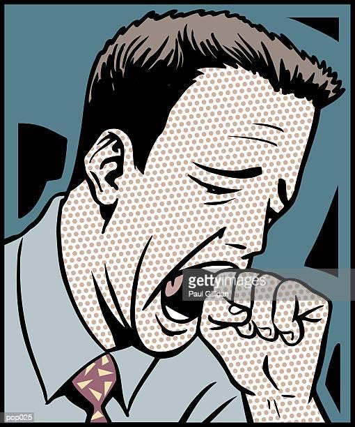 stockillustraties, clipart, cartoons en iconen met man yawning - yawning