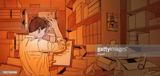manager counting stocks in warehouse - inspector stock illustrations, clip art, cartoons, & icons