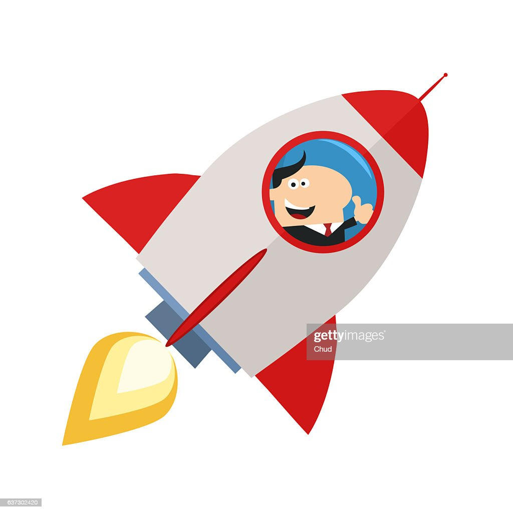 Manager Launching A Rocket And Giving Thumb Up : Stock Illustration
