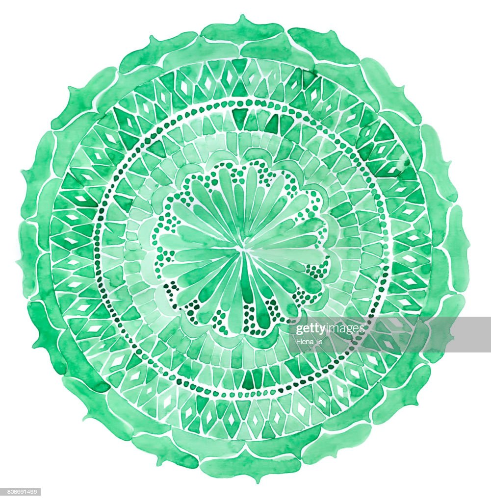 Mandala watercolor. Textile print for package design, cloth, fashion concepts : stock illustration