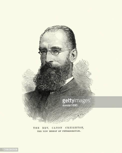 ilustrações, clipart, desenhos animados e ícones de mandell creighton, bispo de peterborough, 1891 - bishop clergy