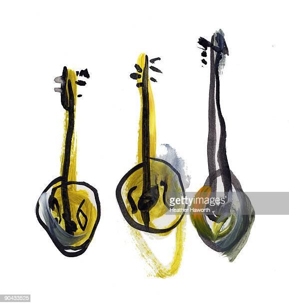 mandolins - painted image stock illustrations