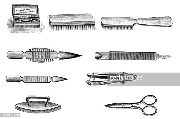 manicure pedicure set - toilet brush stock illustrations, clip art, cartoons, & icons