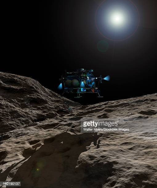 A manned Asteroid Lander approaches the desolate surface of an asteroid.