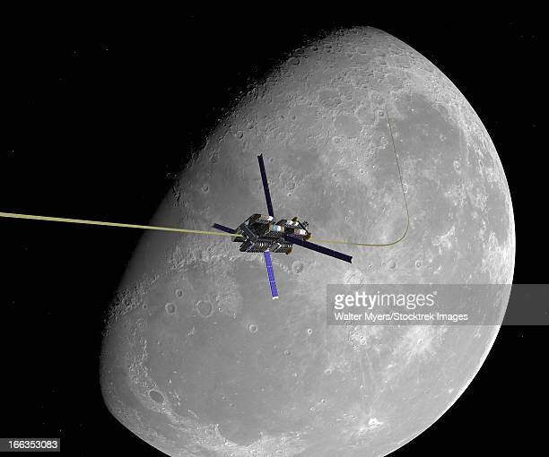 a manned lunar space elevator ascends from the surface of the moon. - elevator stock illustrations, clip art, cartoons, & icons