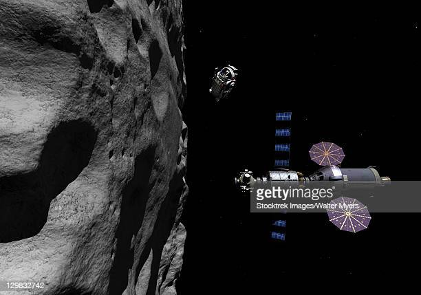 a manned maneuvering vehicle descends toward the surface of a small asteroid. - space mission stock illustrations