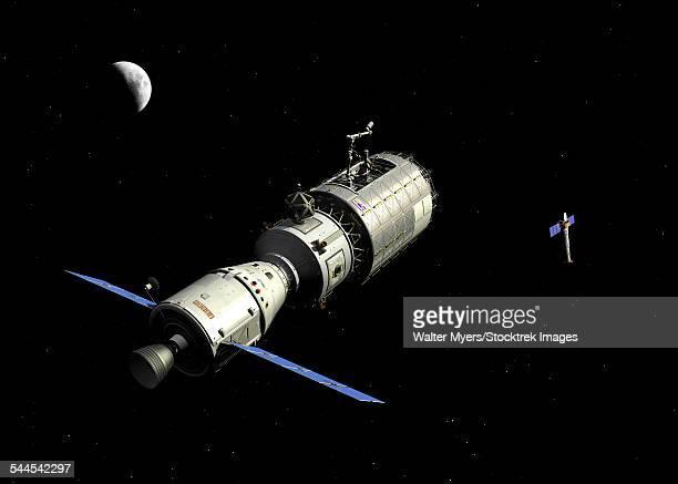 illustrazioni stock, clip art, cartoni animati e icone di tendenza di a manned orbital maintenance platform approaches the chandra x-ray observatory. - osservatorio a raggi x chandra