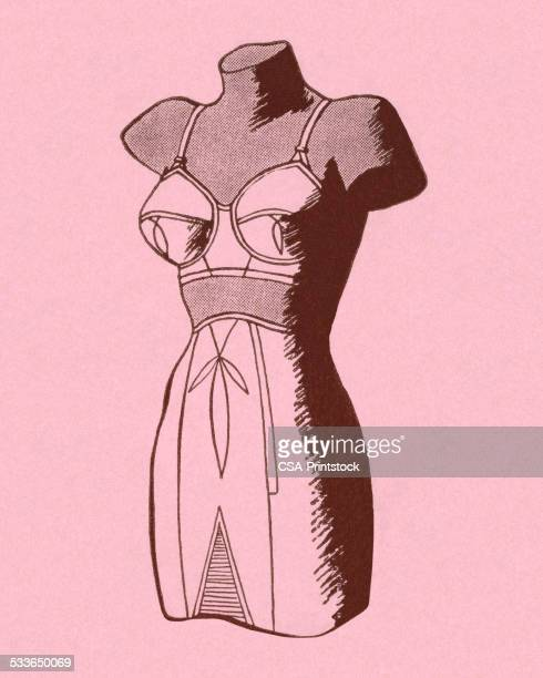 mannequin wearing bra and girdle - bra stock illustrations, clip art, cartoons, & icons