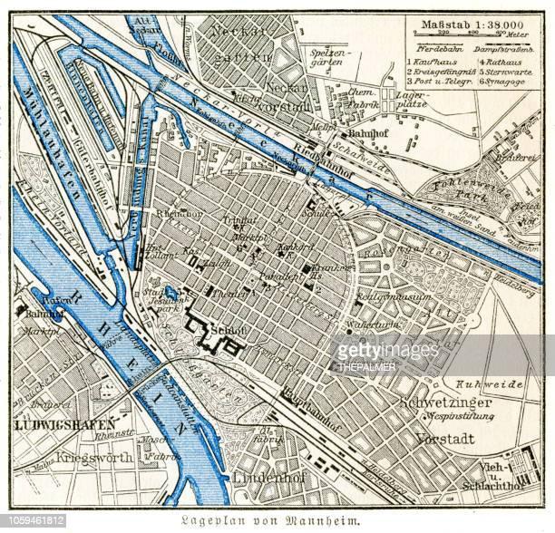 stadtplan mannheim 1895 - mannheim stock-grafiken, -clipart, -cartoons und -symbole