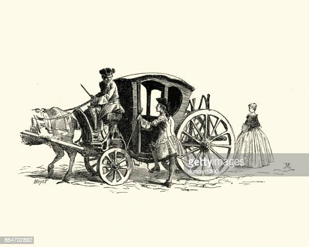 manon lescaut - 18th century horse and carriage - horsedrawn stock illustrations, clip art, cartoons, & icons