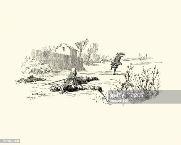 ilustrações de stock, clip art, desenhos animados e ícones de manon lescaut - after the duel, 18th century - luta de espadas