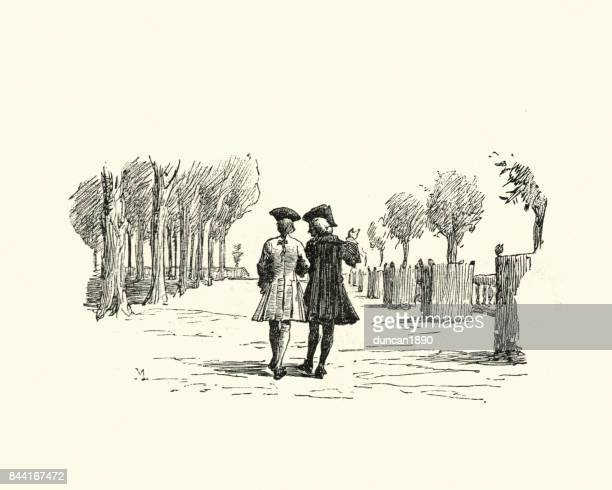 manon lescaut -  friends strolling in to park, 18th century - arm in arm stock illustrations, clip art, cartoons, & icons
