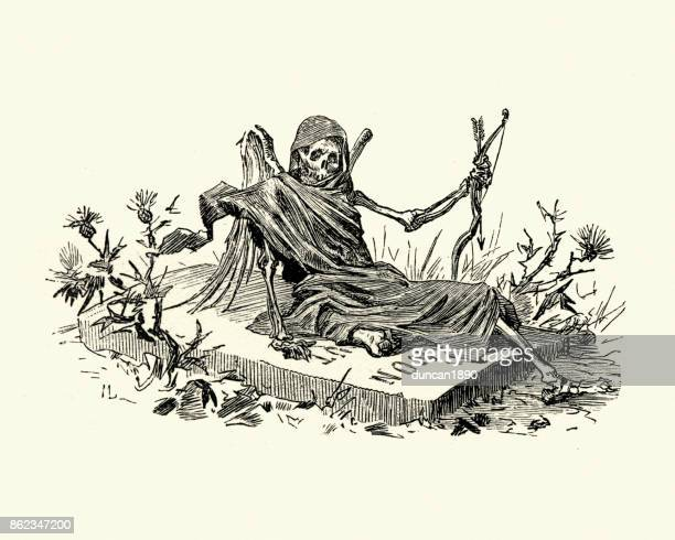 manon lescaut - grim reaper sat on a tombstone - terminal illness stock illustrations, clip art, cartoons, & icons