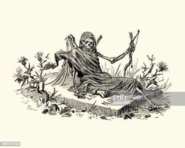 manon lescaut - grim reaper sat on a tombstone - tomb stock illustrations