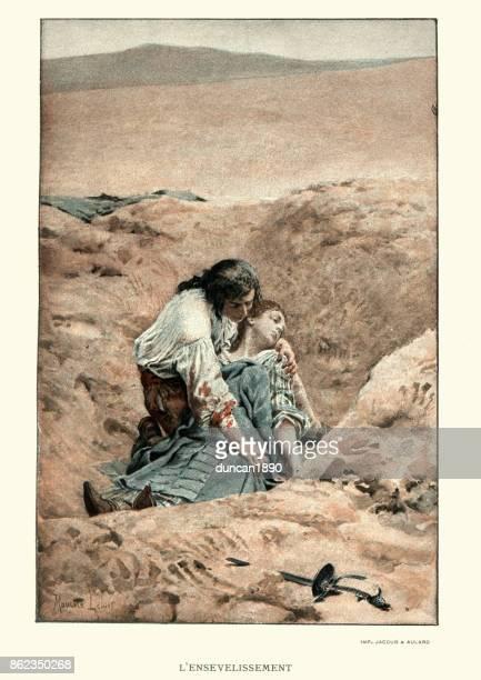 manon lescaut - man burying a womans body - grave stock illustrations, clip art, cartoons, & icons