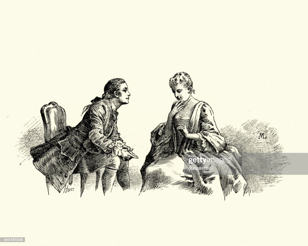 Manon Lescaut - Man flirting with young woman 18th Century : stock illustration