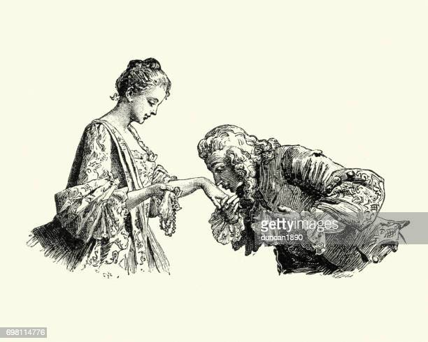 manon lescaut - man kissing young womans hand - 18th century stock illustrations
