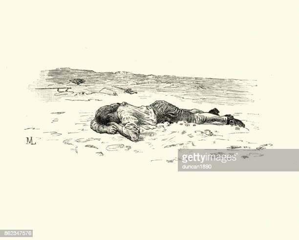 Manon Lescaut - hombre acostado exhausta en el suelo
