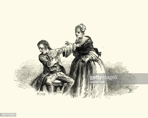 manon lescaut - man refusing a woman advances, 18th century - refusing stock illustrations, clip art, cartoons, & icons