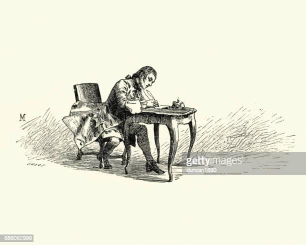Manon Lescaut - Man sat at desk writing a letter