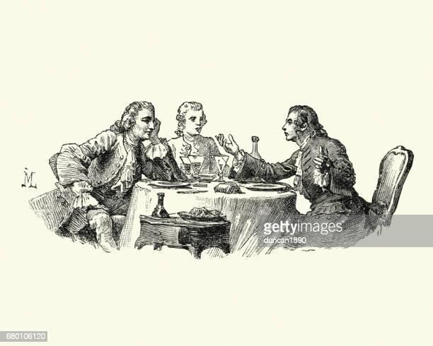 ilustraciones, imágenes clip art, dibujos animados e iconos de stock de manon lescaut - hombres hablar sobre una comida del siglo xviii - mesa de comedor