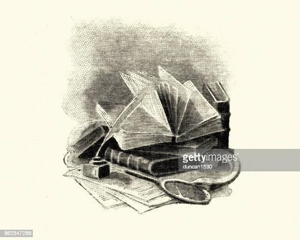ilustraciones, imágenes clip art, dibujos animados e iconos de stock de manon lescaut - libros antiguos - plumadeescribir