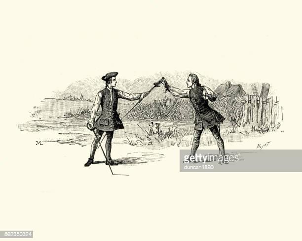 ilustrações de stock, clip art, desenhos animados e ícones de manon lescaut - practicing for a duel, 18th century - luta de espadas