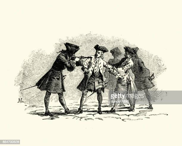 manon lescaut - soldiers arresting a spy18th century - arrest stock illustrations, clip art, cartoons, & icons