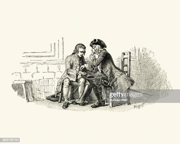 manon lescaut - two 18th century men conspiring together - conspiracy stock illustrations, clip art, cartoons, & icons