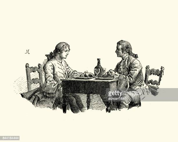 manon lescaut - two friend eating lunch, 18th century - 18th century stock illustrations