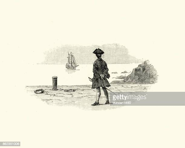 manon lescaut - watching a ship sail away, 18th century - pirate criminal stock illustrations
