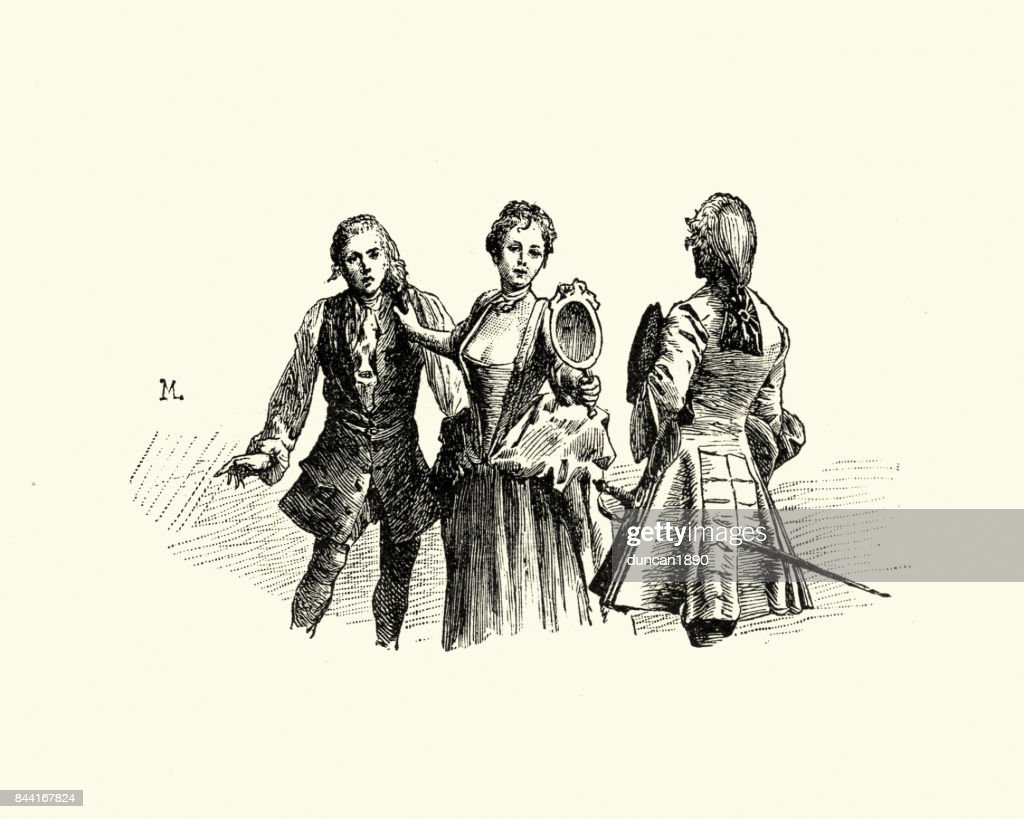 Manon Lescaut Woman Holding Mirror For Man Stock Illustration