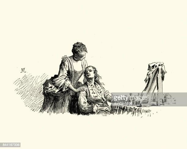 Manon Lescaut -   Young couple at mans dressing table