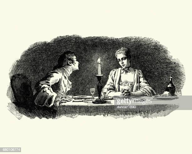 manon lescaut - young couple having a candlelit dinner - flirting stock illustrations, clip art, cartoons, & icons