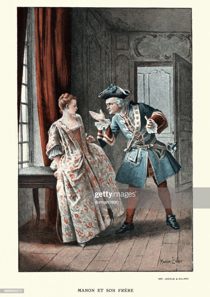 Manon Lescaut - Young woman arguing with her elder brother : stock illustration