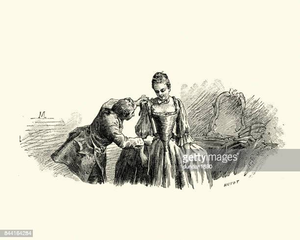 manon lescaut -  young woman being fitted for evening gown - 18th century stock illustrations