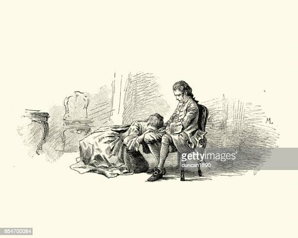 manon lescaut - young woman crying in a man lap - 18th century stock illustrations