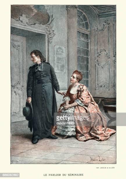 マノン Lescaut - 若い聖職者を誘惑する若い女性