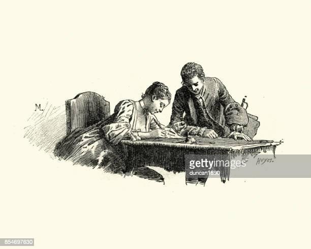 Manon Lescaut - jeune femme écrivant une lettre du XVIIIe siècle