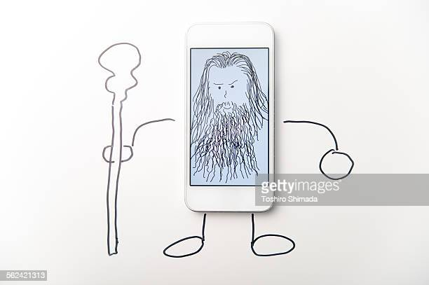 A man's face on the smart phone and written body