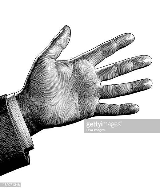 illustrations, cliparts, dessins animés et icônes de homme de main - main noir et blanc