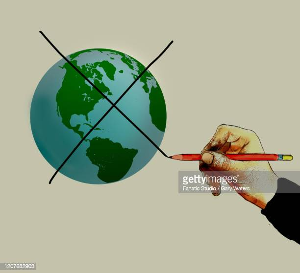mans hand with a pencil making a cross over the earth - crossed out stock illustrations