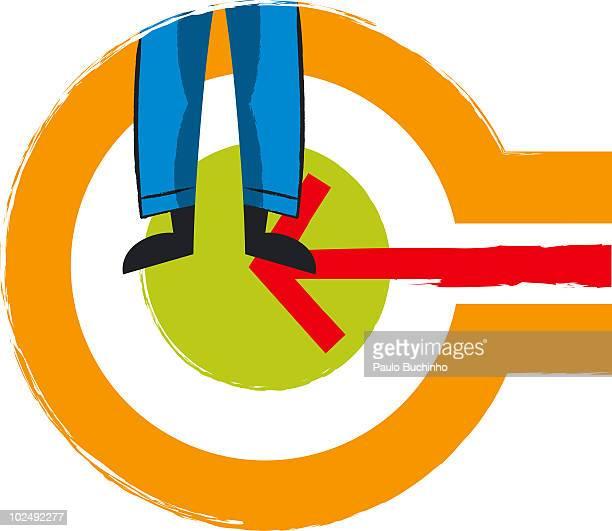 ilustrações de stock, clip art, desenhos animados e ícones de mans legs with target and arrow sign - buchinho