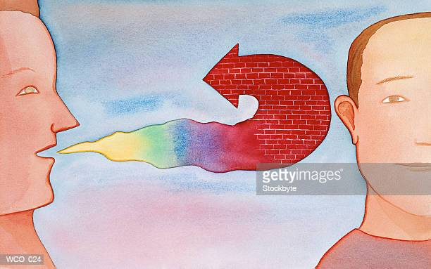 man's word bubble is brick arrow, bouncing off second man's ear - ignoring stock illustrations, clip art, cartoons, & icons