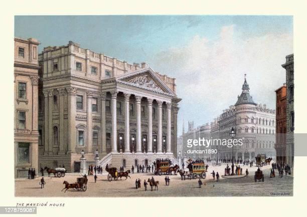 ilustrações, clipart, desenhos animados e ícones de mansion house, arquitetura vitoriana de londres, impressão de arte do século 19 - pediment
