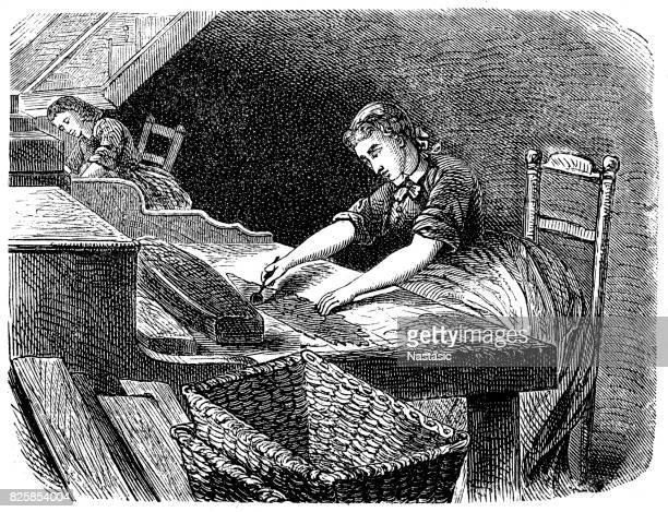 manual production of cigars - cuban culture stock illustrations, clip art, cartoons, & icons