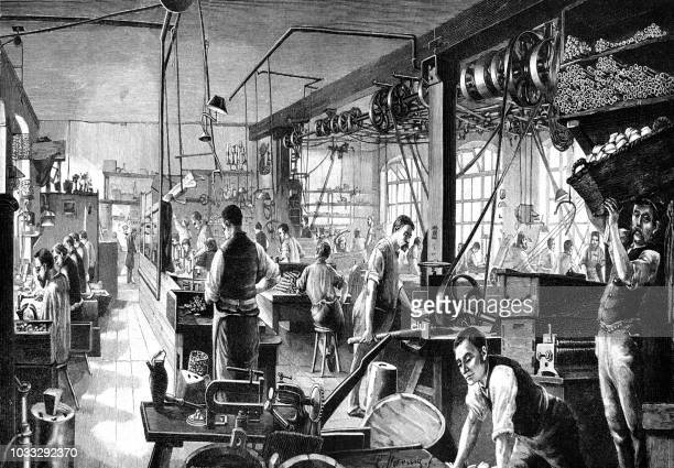 manufacture of electric lamps - industrial revolution stock illustrations
