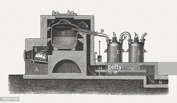 Manufacture of nitric acid, wood engraving, published in 1880